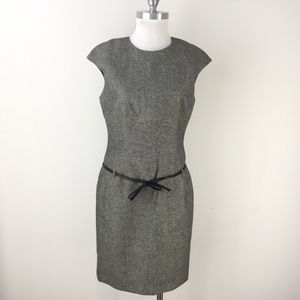 David Meister 10 Gray Wool Metallic Tweed dress